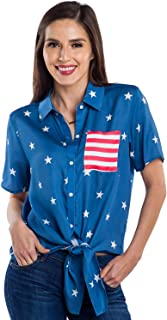 Women's USA Patriotic Tie Shirt - Cute American Flag Patriotic Hawaiian Shirt for Ladies