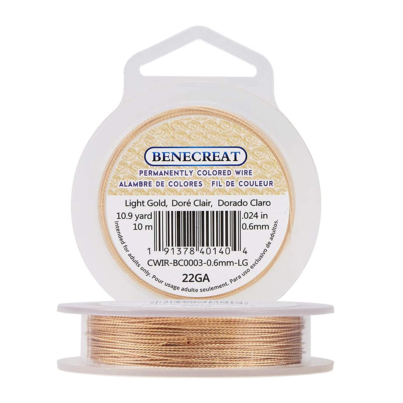 BENECREAT 22 Gauge Twist Light Gold Wire Tarnish Resistant Jewelry Making Wire, 33-Feet/11-Yard in Total