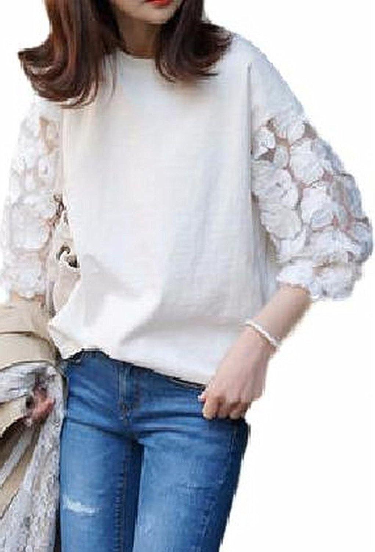 [プチドフランセ ] シースルー フラワー 刺繍 レース Tシャツ 袖 花柄