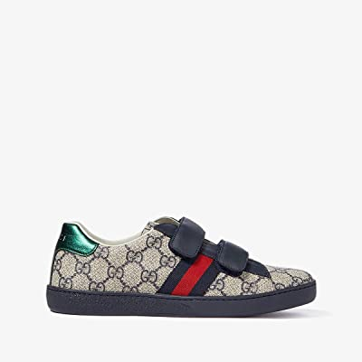 Gucci Kids New Ace V.L. Sneakers (Little Kid/Big Kid) (Beige/Ink) Kids Shoes