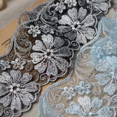 Astonish 2 Meter 7.5cm Breite Hellblau Schwarz Blume Stickapplikationen Brautspitze NäHen Borte: weiß mit schwarz