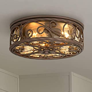 Casa Seville Rustic Outdoor Ceiling Light Fixture Dark Walnut Iron Scroll 12