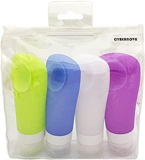 - 100/% Libre de BPA Contenedores para Champ/ú Crema de Ba/ño 2.8oz // 80ml Puve Vie/® Botellas de Viaje Port/átil Silicona 4 Piezas Loci/ón.etc Aprobado por la TSA B/álsamo