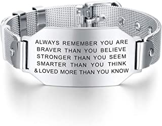 Always Remember You are Braver Than You Believe Inspirational Letters Engraved Bracelet Positive Gifts