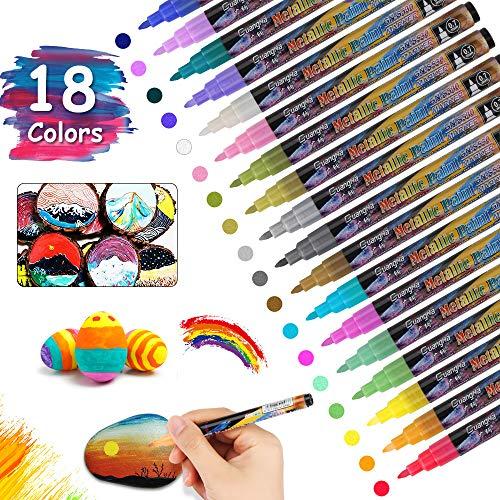 Vegena Metallic Stifte, Permanent Marker Set 18 Farben Metallischen Stift Pens für DIY Fotoalbum Scrapbooking Kartenherstellung Gästebuch Hochzeit Papier Stein Glas Kunststoff - Feiner Spitze (0,7mm)