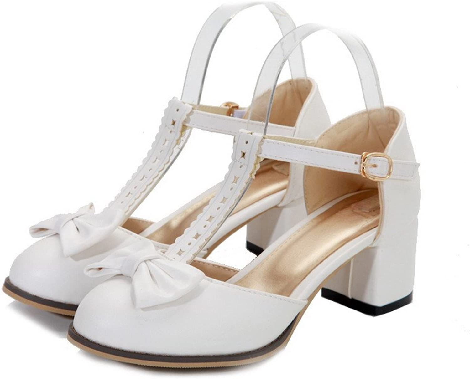 AmoonyFashion Womens Closed Round Toe Mid Heel Soft Material PU Solid Sandals with Bowknot, White, 10 B(M) US