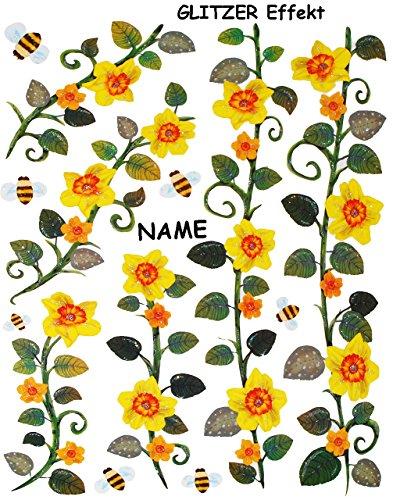 alles-meine.de GmbH 13 TLG. Set _ Glitzer Fensterbilder -  Blumenranken - Blumen gelb & Bienen  - incl. Name - statisch haftend - selbstklebend + wiederverwendbar / Sticker Fen..