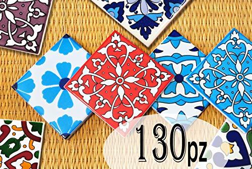 130 Mattonelle MISTE in ceramica smaltata. Pacco speciale contenente 130 mattonelle decorate 10 X 10 cm spessore 0,6 cm - Mattonelle Tunisine realizzate con Serigrafia Artigianale