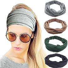 4 Pack Women Headbands Elastic Turban Head Wrap Headband Twisted Hair Band Cute Hair Accessories H1 (4 Color Pack F)