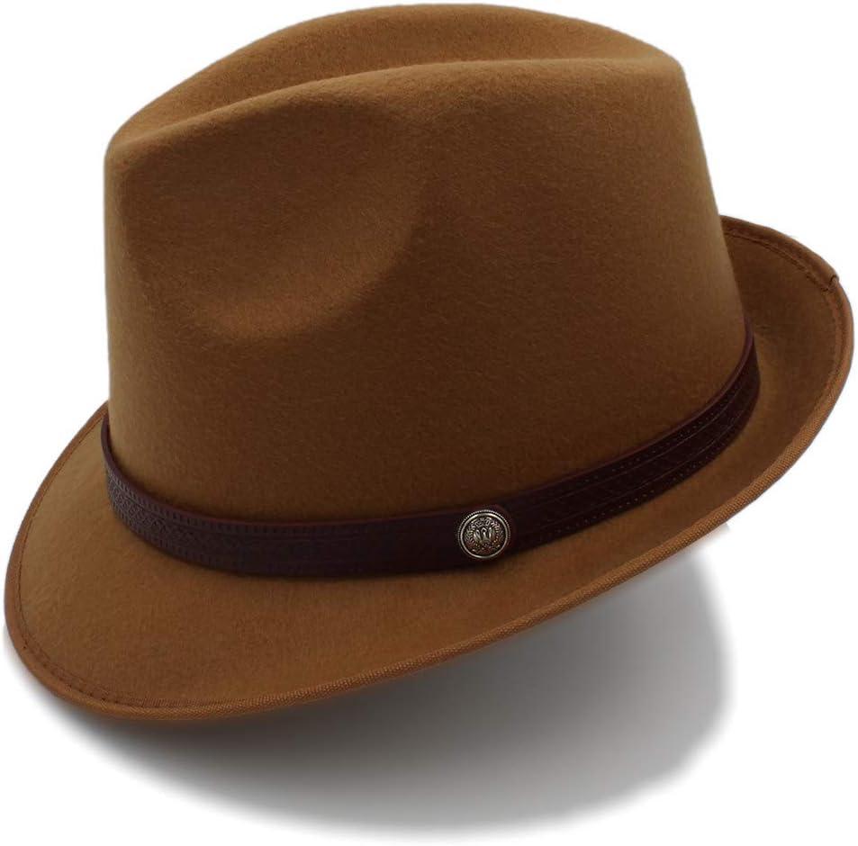 no-branded Winter Fedora Hat Men Women Wool Felt Jazz Hat Vintage Panama Cap ZRZZUS (Color : Khaki, Size : 56-58cm)