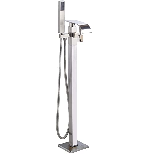 Gold Bathroom Free Standing Floor Mounted Bathtub Mixer Faucet Shower Spray Set