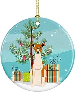 Caroline's Treasures Merry Christmas Tree Whippet Ceramic Ornament, Multicolor