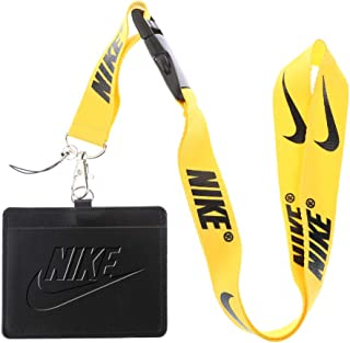 Nike Black Faux Leather Business ID Badge Card Holder with (Yellow with Black) Keychain Lanyard