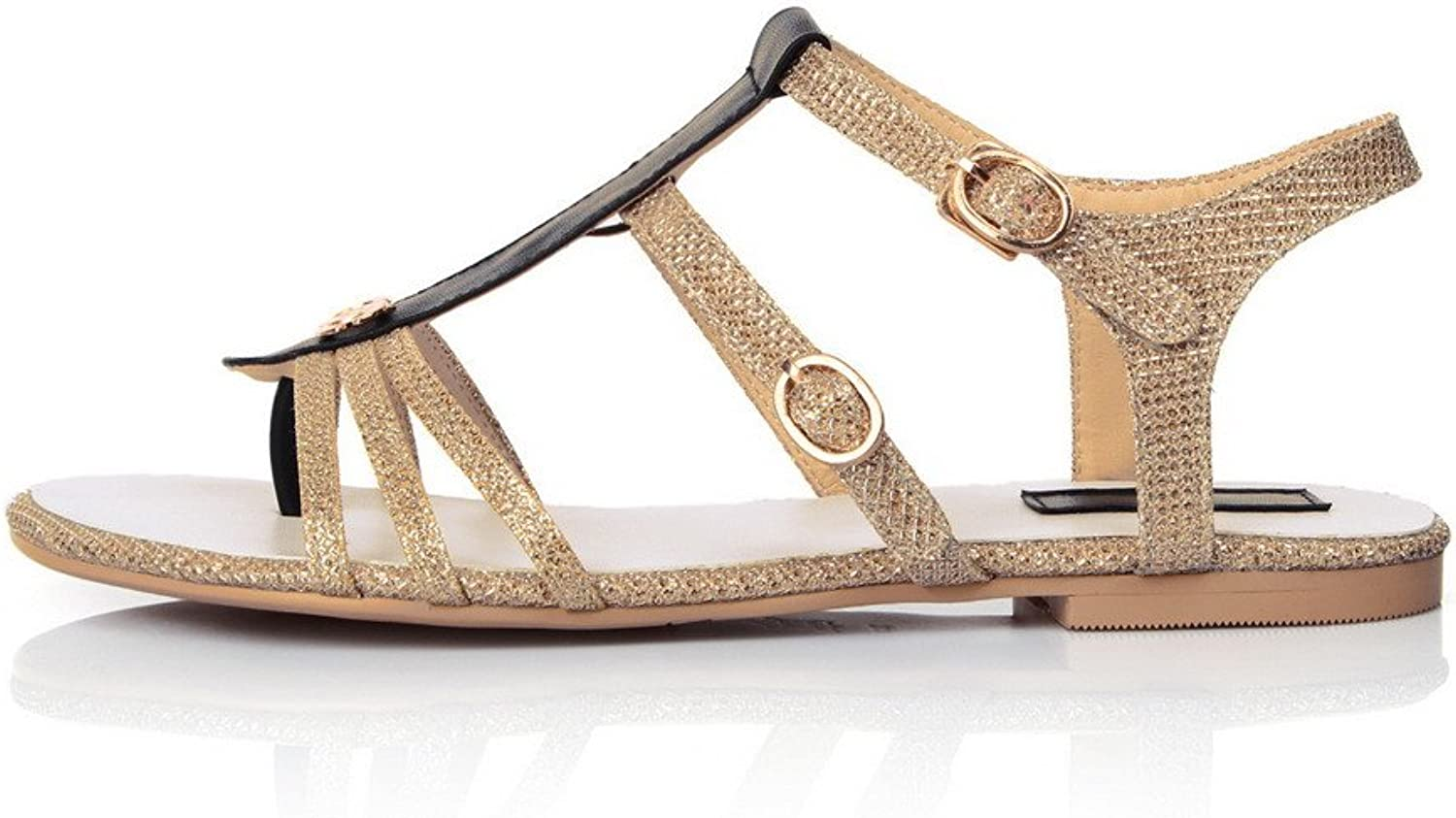 AmoonyFashion Women's Open Toe Flats Heel Cow Leather Soft Material Assorted colors Sandals, gold, 9.5 B(M) US