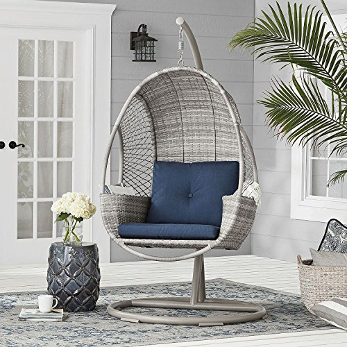 Outdoor Hand Woven All Weather Wicker Hanging Egg Chair On Stand W Storage Buy Online In Bulgaria At Desertcart Productid 56324268