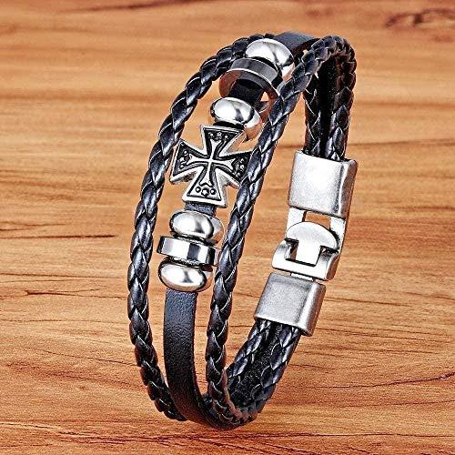LBBYLFFF Collar Accesorios deslizantes Vintage Acero Inoxidable Alambre Cuero Hombres S Pulseras y brazaletes Bendición Conmemorativa Longitud de la joyería 21Cm