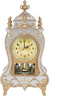 Intage Style Plastic Table Clock,Antique Home Hotel Decorative Desk Alarm Clocks,Vintage Alarm Clock(Classic)(blanc)