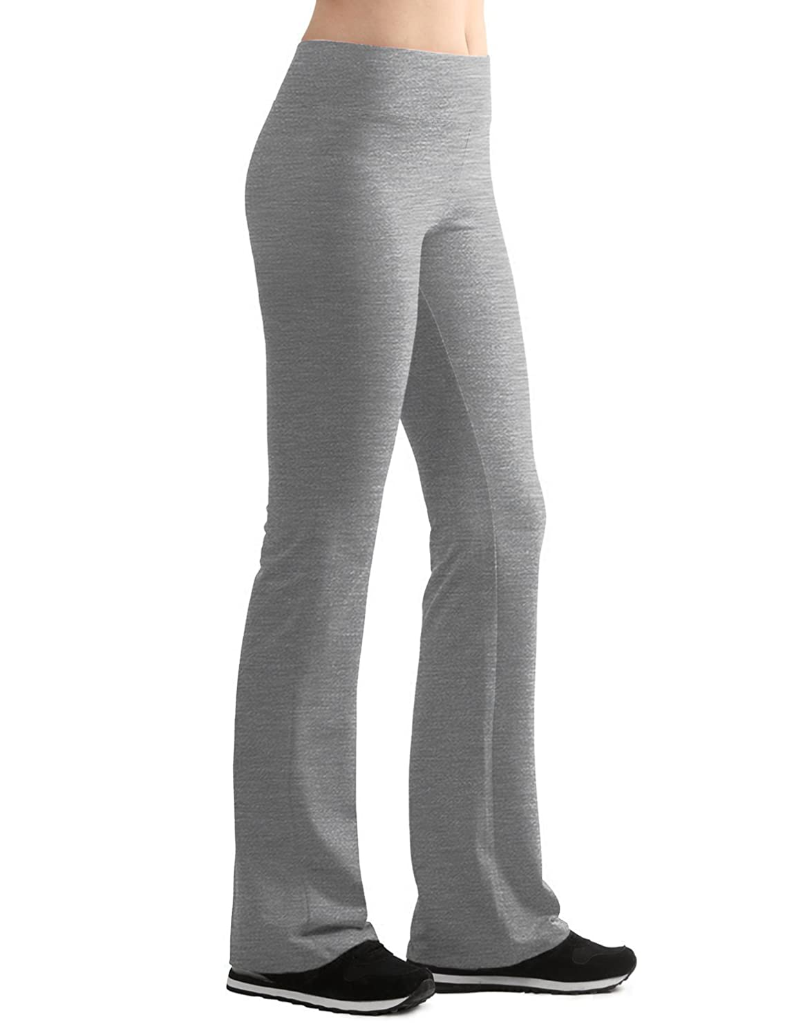 Lock and Love Women's Cotton Span Strech Slim-Fit Bootleg Yoga Pants S-XXXL Made in USA