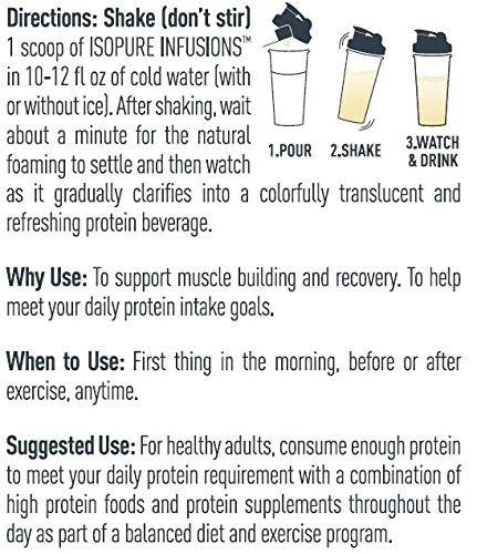 """ISOPURE INFUSI   ONS, Refreshingly Light Fruit Flavored Whey Protein Isolate Powder, """"Shake Vigorously"""