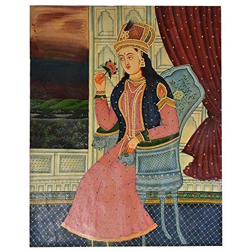 Étagère Indien Fait à la Main Peinture Moghole de Mumtaz Mahal avec Une Rose Art Mural PT-09
