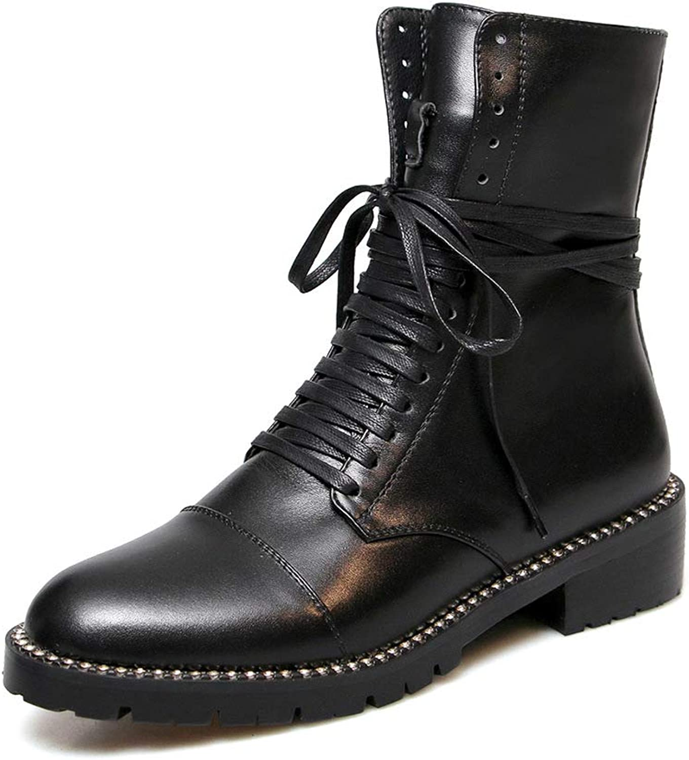 2018 Cool Genuine Leather Ankle Bootie lace Women shoes Crystal Platform Boots Chunky Heel Boot