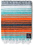 Authentic Mexican Blanket - Beach Blanket, Handwoven Serape Blanket, Perfect as Beach Blankets, Picnic Blanket, Outdoor Blanket, Yoga Blanket, Camping Blanket, Car Blanket, Woven Blanket (Mandarin)