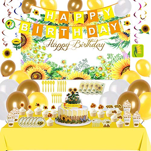 Happy Birthday Luxury Party Decorations , Sunflower Garlands , Birthday Balloons , Flags , Paper Cake Ornaments and Environmentally Friendly Tableware and Other Kits , Used for Birthday Party Wedding Decor