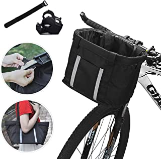 ANZOME Handlebar Bike Basket, Folding Small Pet Cat Dog Carrier Front Removable Bicycle Basket Quick Release Easy Install Detachable Cycling Bag Mountain Picnic Shopping