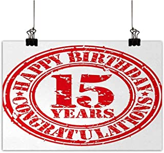 Anzhutwelve 15th Birthday Modern Oil Paintings Grunge Vibrant Worn Design Celebratory Rubber Stamp Mark Fifteen Years Old Canvas Wall Art Red White 24