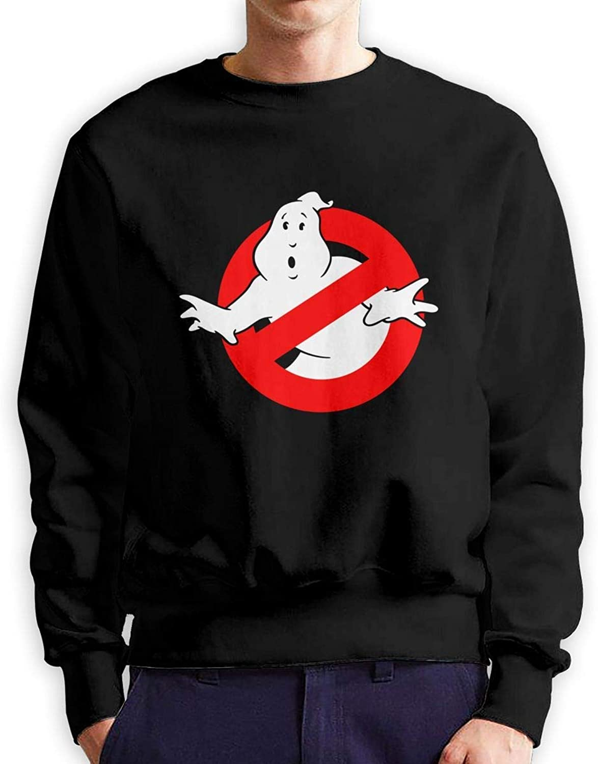 Leasan Ghostbusters Logo Mens Round Neck Long Sleeve Crew Neck Long Sleeve Hoodie Sweatshirts Double Sided Printed