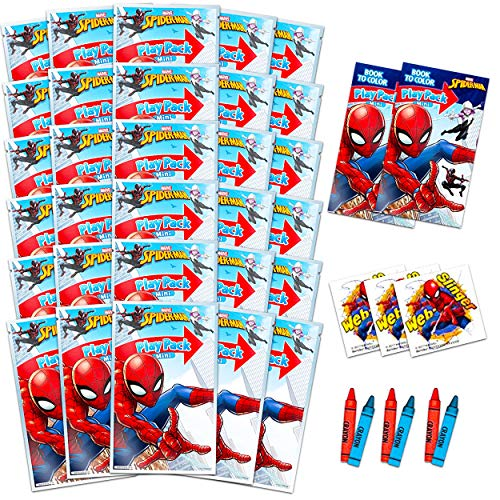 Spiderman Activity Set Bulk Spiderman Party Favor Bundle - 30 Packs with Spiderman Coloring Books, Spiderman Stickers, and More (Spiderman Classroom Set)