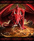 Anne Stokes Signature Silk Touch Sherpa Lined Throw Blanket, Dragons Lair