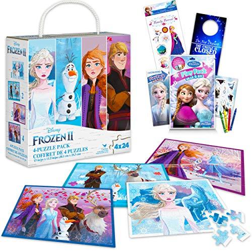 Disney Frozen Puzzle 4 Pack Bundle ~ Frozen Puzzle Set with 4 Unique Frozen Puzzles, Stickers, and More! (Frozen Jigsaw Puzzles)