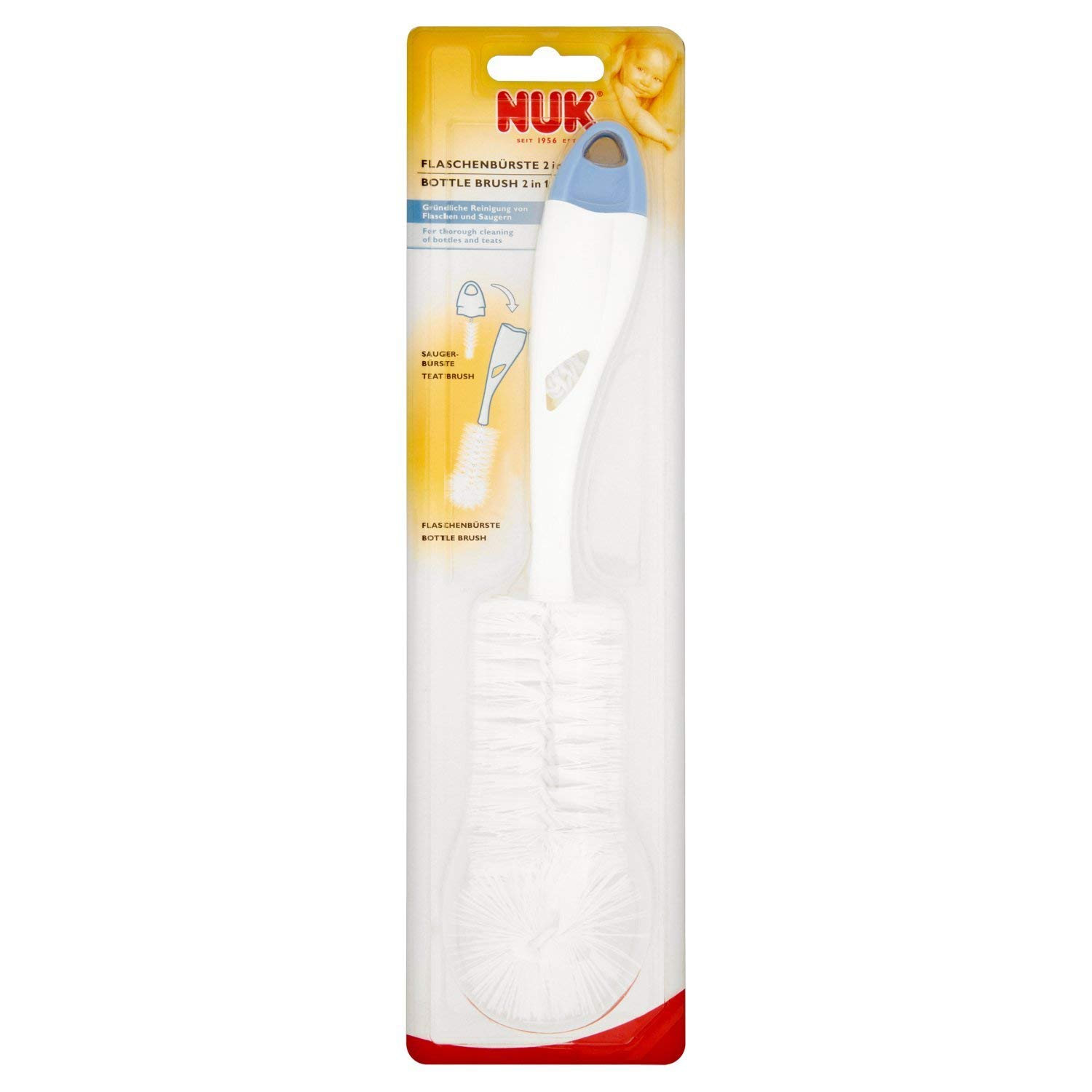2-in-1 Design with A Separate Small Brush NUK Bottle and Teat Brush