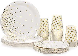 "CHOSMO 30pcs 9oz Paper Cups + 30pcs 7"" Plates + 30pcs 9"" Plates Set of 90pcs Disposable Drinkware & Dishware with Golden P..."