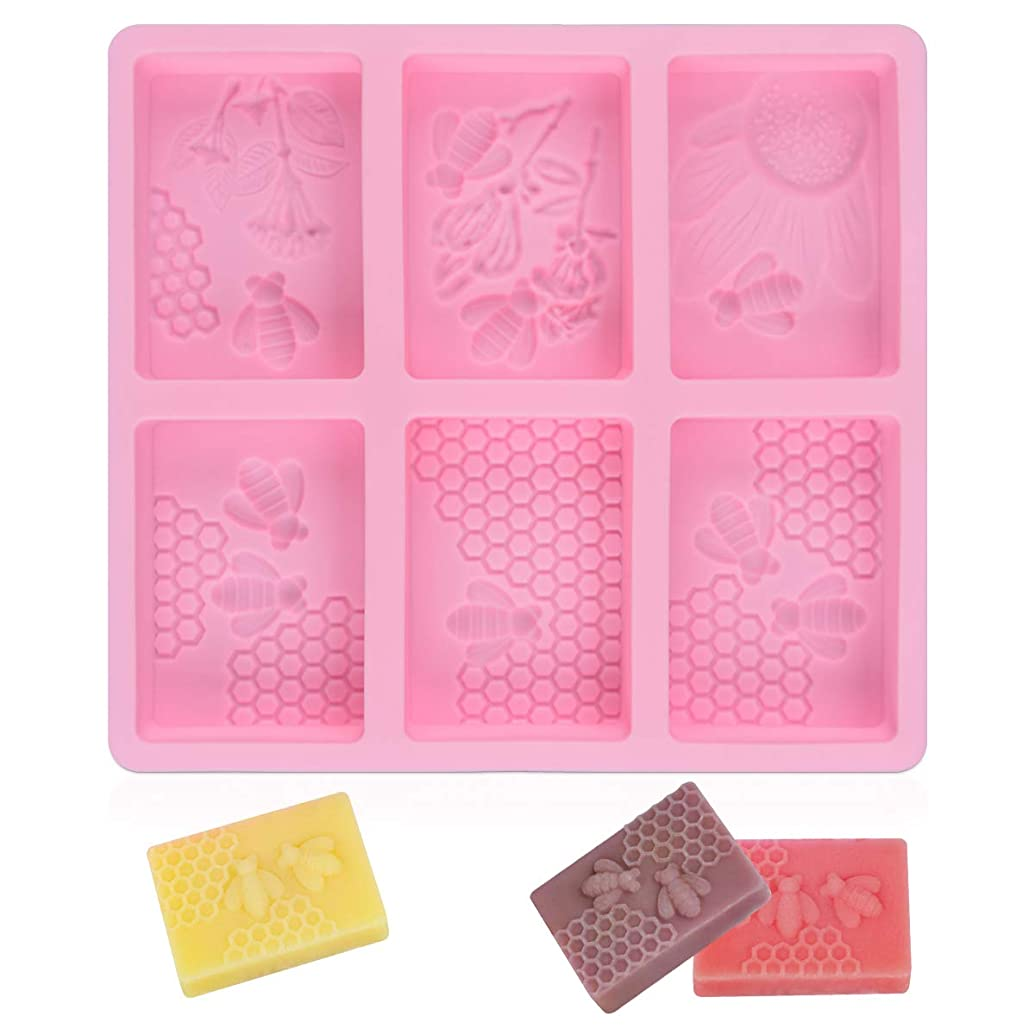SJ 3D Bee Silicone Molds, Honeycomb Molds for Soaps, Rectangle Cake Baking Mold, Resin Mold Beehive Candle Mold for Homemade Craft (square, pink)