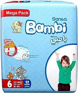 Sanita Bambi Baby Diapers Mega Pack Size 6, XX-Large, 16 KG, 52 Count