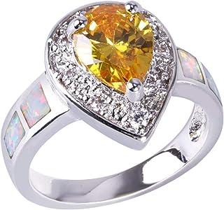 KELITCH Anelli da donna in cristallo rettangolo blu opale ovale in cristallo 925 anello in argento sterling placcato regal...