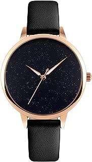Ladies Watches Ultra-Thin Quartz Analog Wrist Watch Women Black Face Watch with Black Leather Strap Waterproof