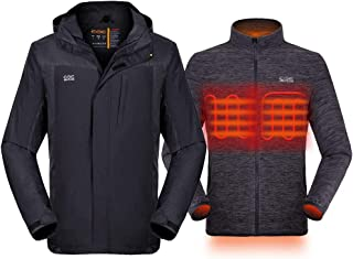 Venustas [2020 Upgrade] Men's 3-in-1 Heated Jacket with Battery Pack, Ski Jacket Winter Jacket with Removable Hood Waterproof