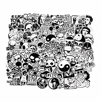 FNGEEN Laptop Stickers Black and White 100pcs Variety Vinyl Car Sticker Motorcycle Bicycle Luggage Bike Skateboard Computer Decal Graffiti Cool Stickers Bomb