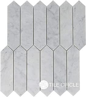 Carrara Marble Elongated Hexagon Tile 2