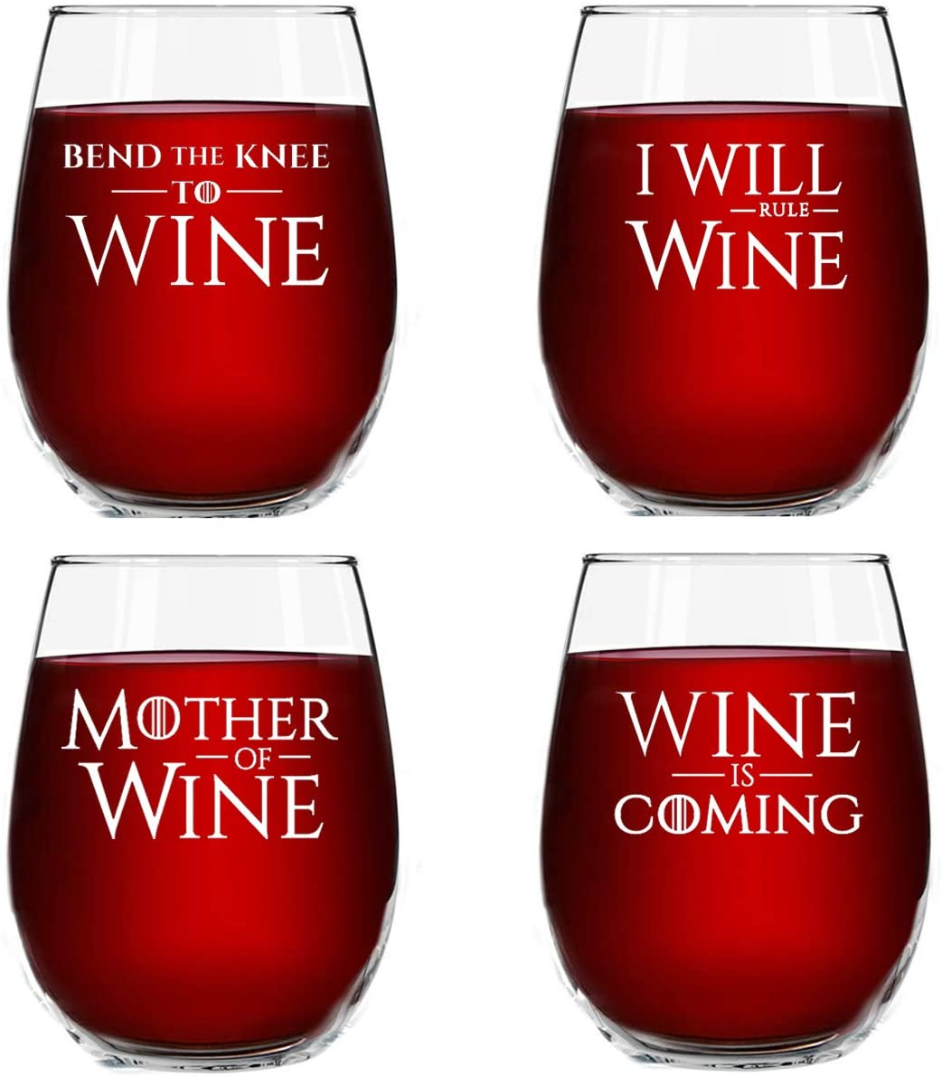 GOT Washington Mall Inspired Wine Quotes Set 4 with Glasses of Discount mail order Stemless