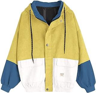 Outerwear & Coats Loose Women Corduroy Jackets Hooded Patchwork Oversize Zipper Jacket Plus Size Windbreaker Coats Female Jacket
