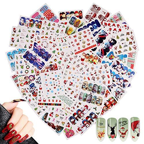 48 Fogli Christmas Adesivi Unghie Decalcomanie,MWOOT Nail Art Stickers Trasferimento ad Acqua Adesivi Unghie per DIY Nail Tips decorazioni