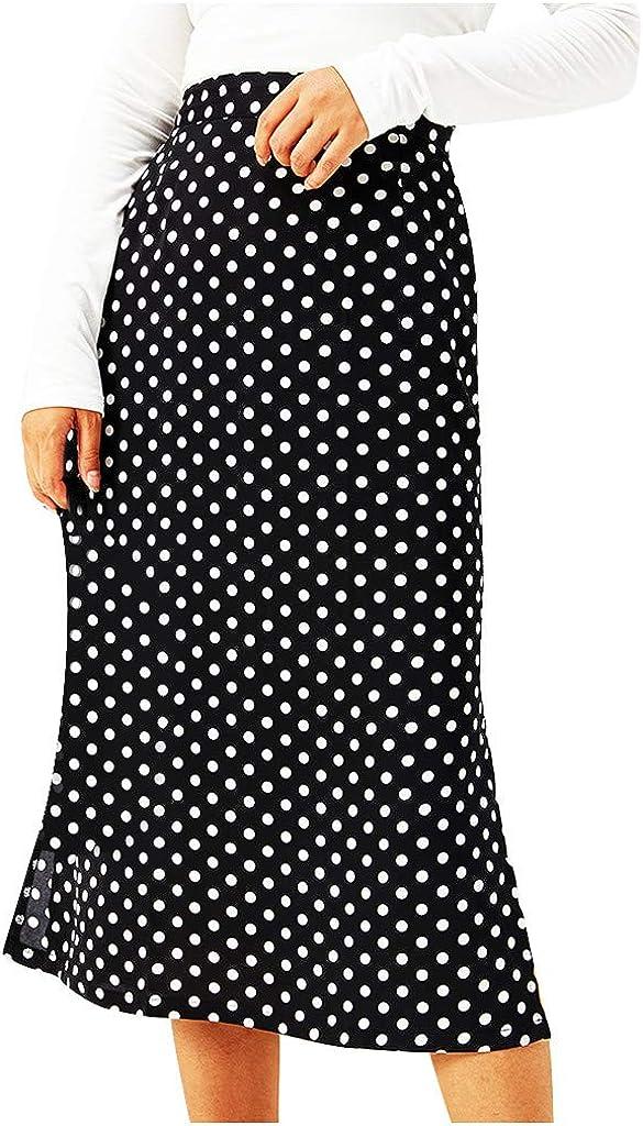 Women Fashion Casual Dot Print High Waist Elastic Waist Zipper Short Skirt
