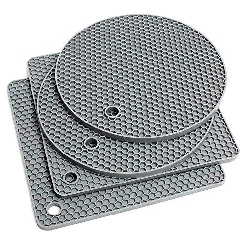 Salvamanteles de Silicona,4 piezas Sostenedor de Pote de Silicona Antideslizante Tapete de Utensilios Cocina Resistente al Calor Posavasos Estera del Tazón Multiusos Individuale Separador de Sartenes