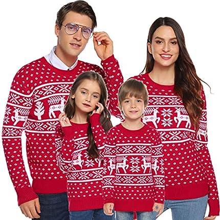 Aibrou Suéter de Navidad para Familia,Jersey de Copos de Nieve de Renos navideños para Mujer Hombre,Jersey Pullover de Punto Vintage de Inviernno Manga Larga para Niño Niña (1# Mamá Roja XXL)