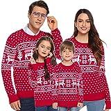 Aibrou Suéter de Navidad para Familia,Jersey de Copos de Nieve de Renos navideños para Mujer Hombre,Jersey Pullover de Punto Vintage de Inviernno Manga Larga para Niño Niña (1# Mamá Roja XL)