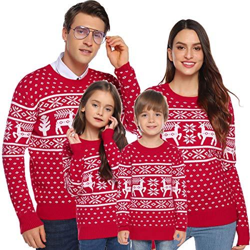 Aibrou Weihnachtspullover Damen Familie Set Weihnachten Pullover Unisex Rentier Schneeflocken Christmas Sweater Strickpullover - Damen-Rot S